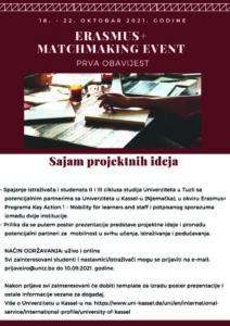 """Univerzitet u Tuzli - ERASMUS+ MATCHMAKING EVENT """"Sajam projektnih ideja"""""""